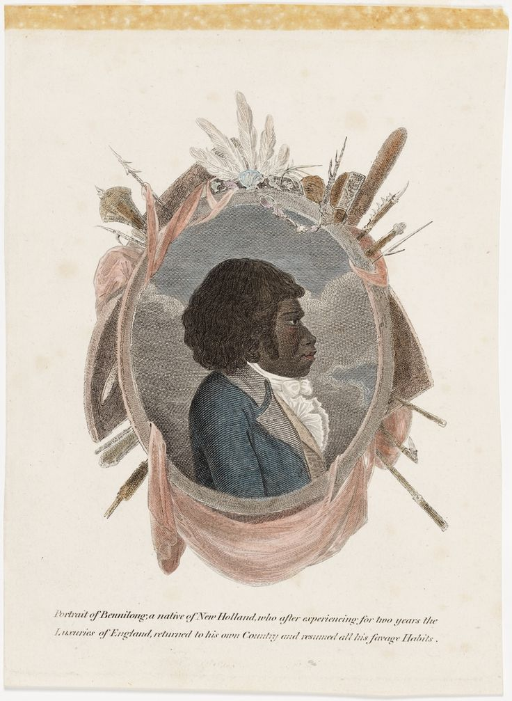 Bennelong was the first Australian Aboriginal author to appear in print, this is a portrait of him. From the collection of the State Library of New South Wales http://www.sl.nsw.gov.au/