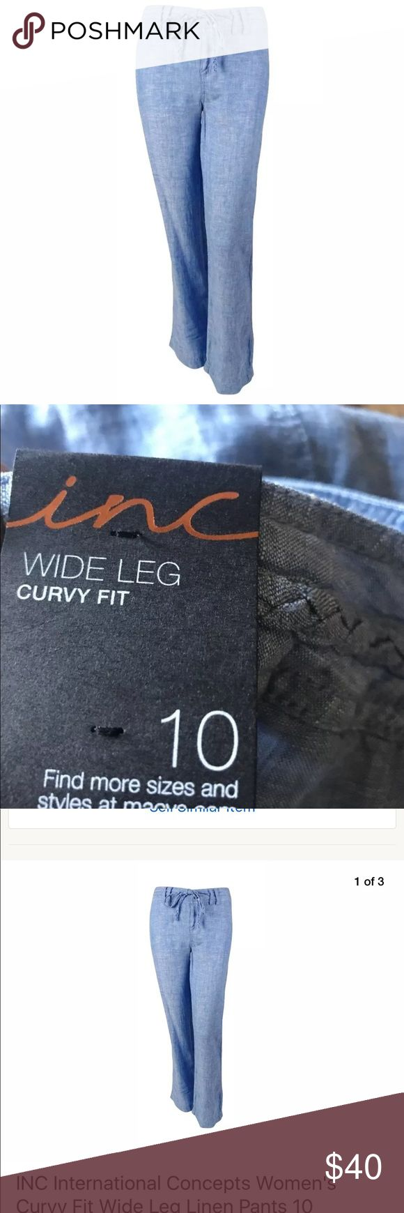 New linen chambray wide leg pants INC International Concepts Women's Curvy Fit Wide Leg 100% Linen Pants 10 Chambray  Suggested Retail Price: $69.5  Item Condition: New With Tags  Pants feature linen blend fabric, wide leg, front and back pockets, braided detail and zip fly with button closure.  Machine wash INC International Concepts Pants Wide Leg