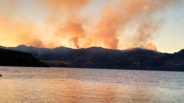 Fire in the Port Hills seen from The Diamond Harbour Ferry.