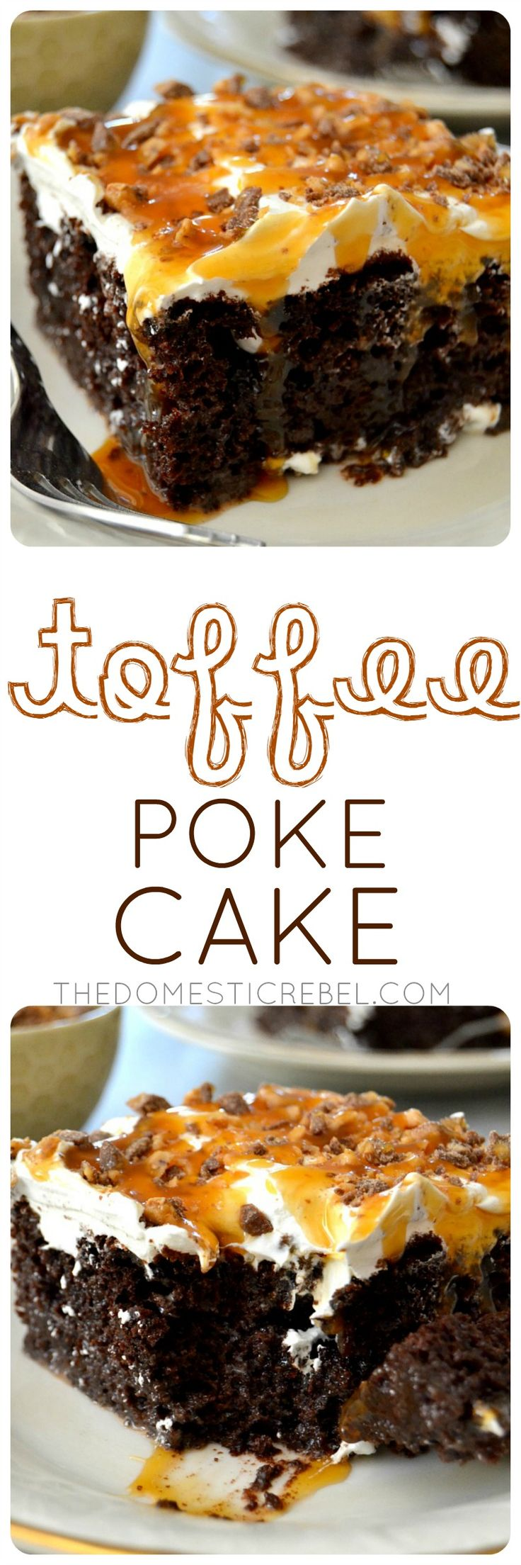This Toffee Poke Cake is an easy, impressive dessert that pleases everyone! Rich chocolate, buttery caramel and crunchy toffee all comes together in this winning dessert!