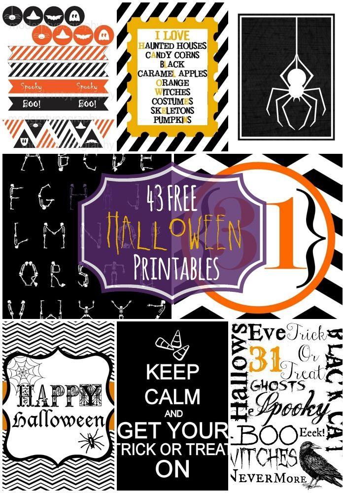 43 FREE Halloween Printables - A collection of free Halloween printables to use for decoration, party favors, etc.!! { lilluna.com }