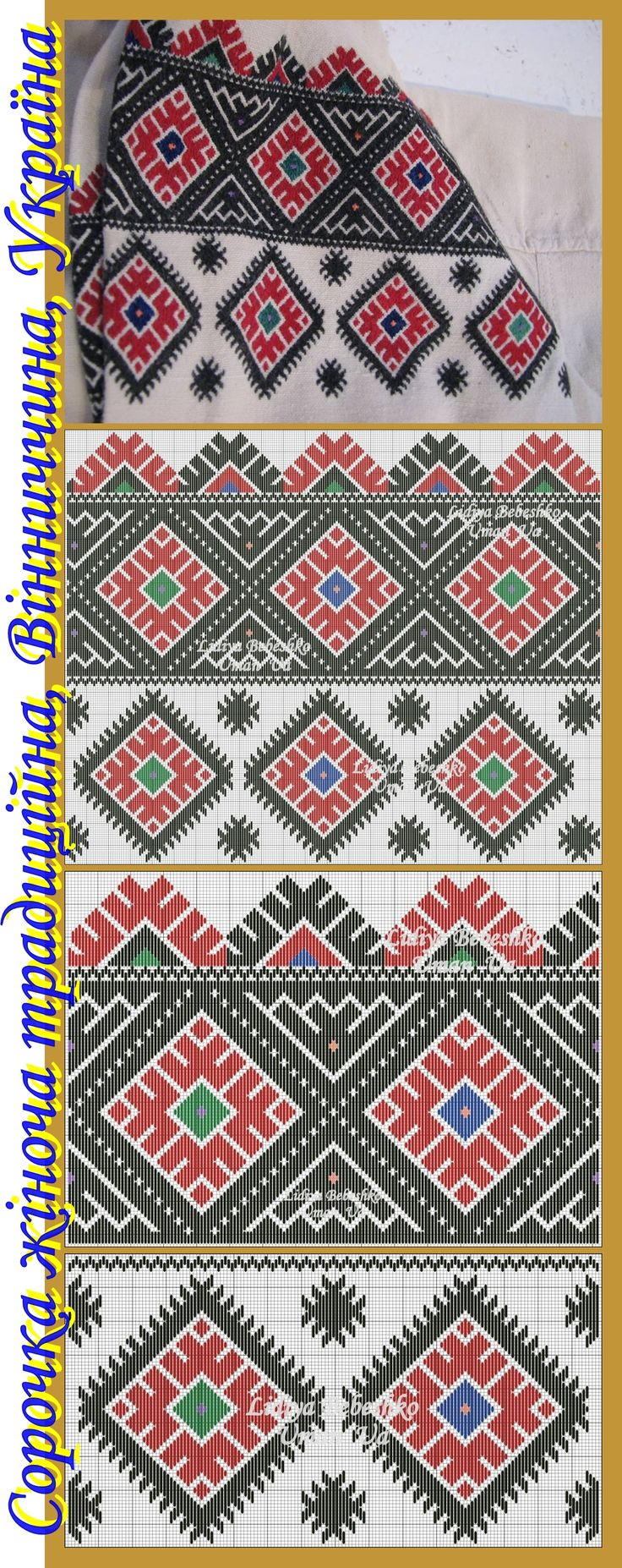 Нарукавна вишивка на жіночій сорочці з Вінниччини, Східне Поділля, Україна