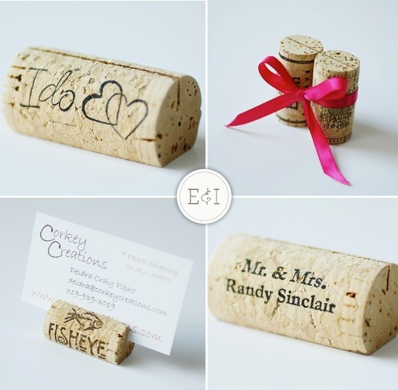 cork place cards - if we had wine casks, this could be a great accent. It's also way cheaper than succulents for each guest