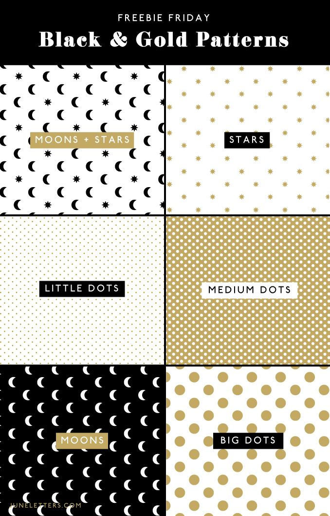 Freebie Friday! Black & Gold Seamless Patterns — June Letters Studio