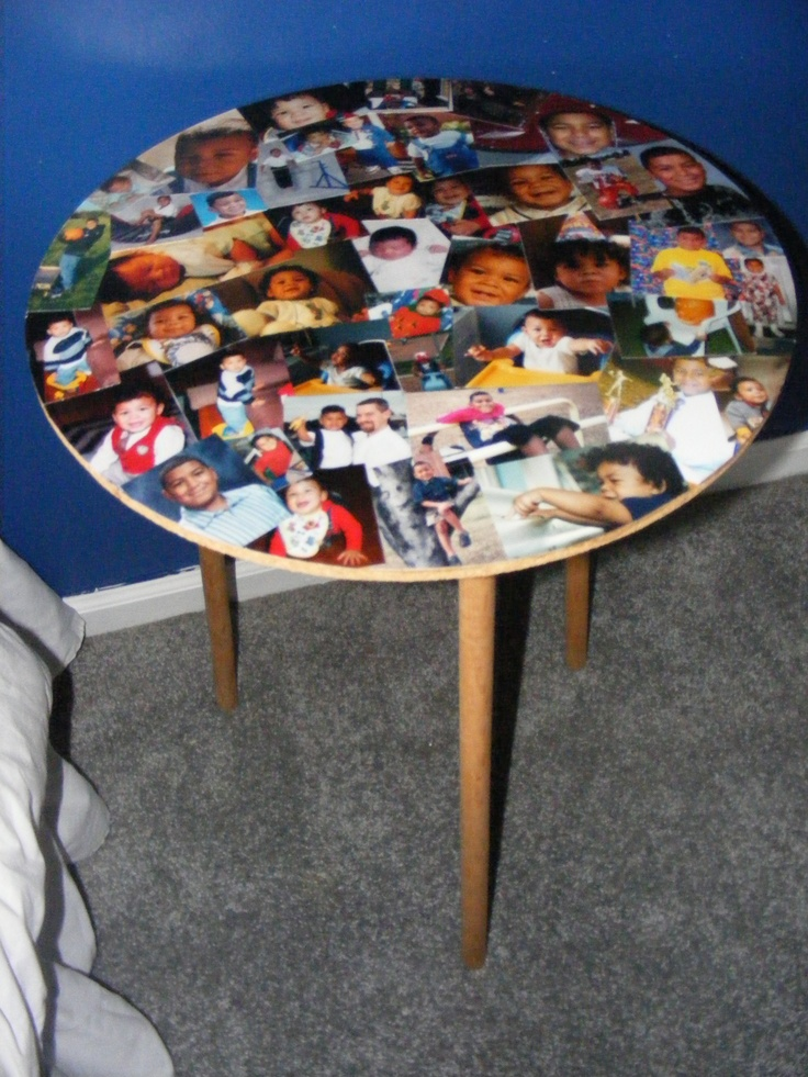 Modge Podge Table Top Of Favorite Photos Crafty