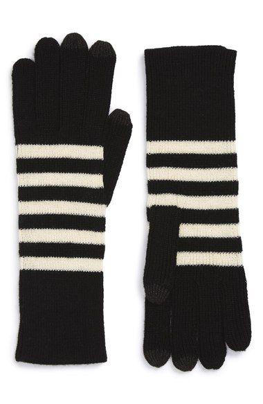 striped black and white gloves