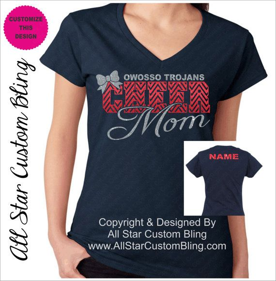 Custom Team Cheer Mom Chevron Glitter Shirt by ...