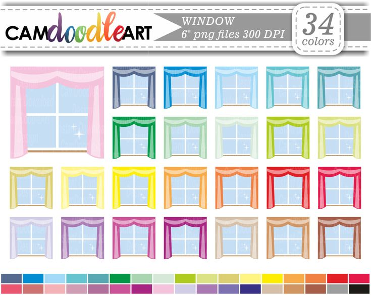 Window Clipart,Curtains Clipart,Cleaning Clipart,Scrapbooking,Planner Clipart,Sticker Clipart,png file by CamDoodleArt on Etsy