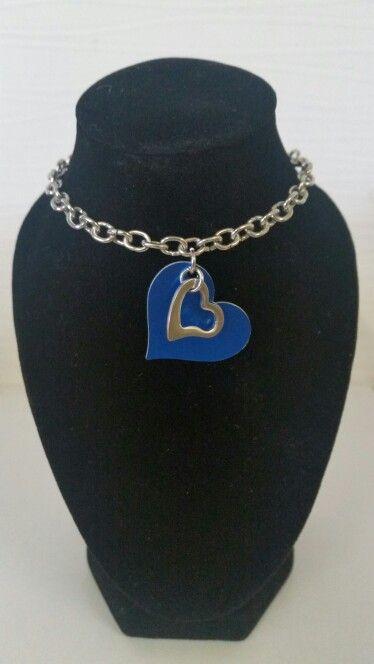 Blue double hearted necklace. AUS $ 8.00