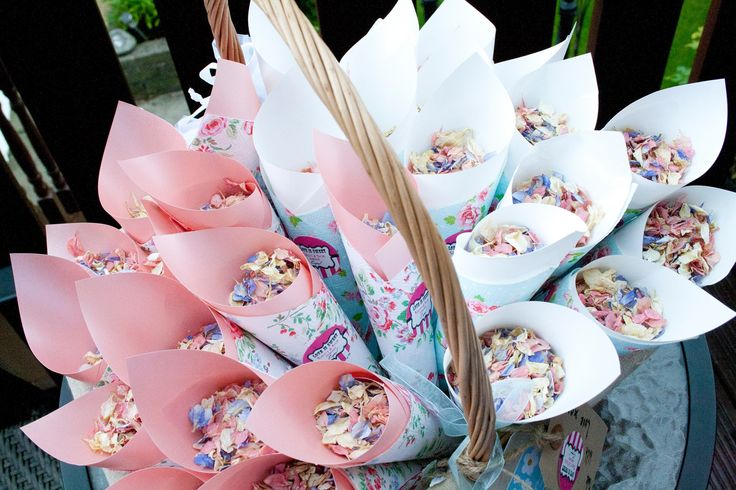Confetti cornets - make your own and place in a basket to give to guests post-ceremony