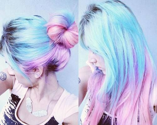 half blue half pink hair straight and bun