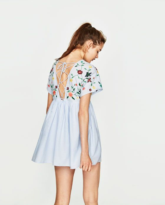 EMBROIDERED JUMPSUIT DRESS from Zara