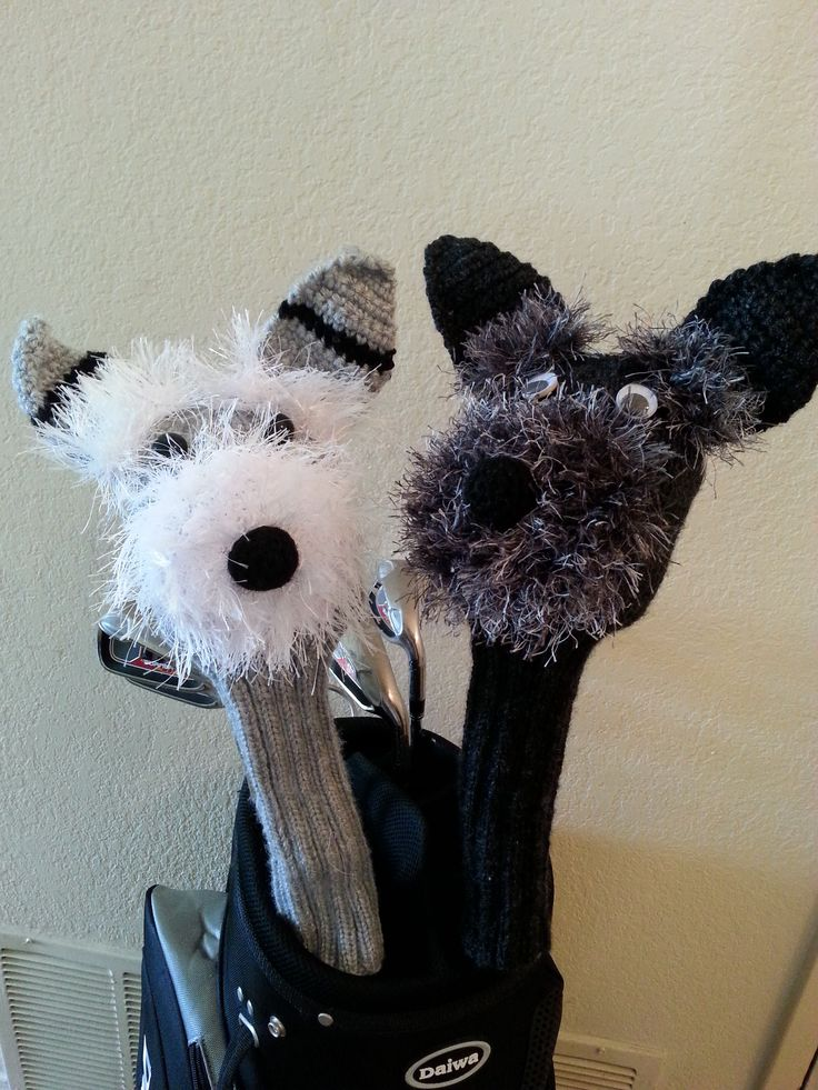 Grey and black Schnauzer knitted golf club covers