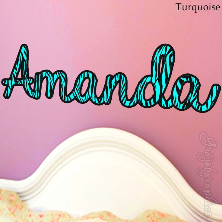 Custom name zebra print turquoise wall decals personalized name wall decals for girls zn2 by vwaq