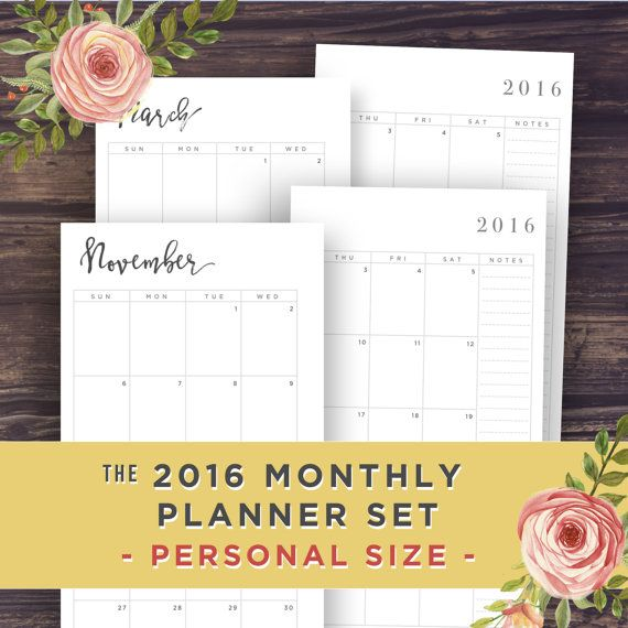 Planner inserts PERSONAL size: Month on Two by PrintablePineapple