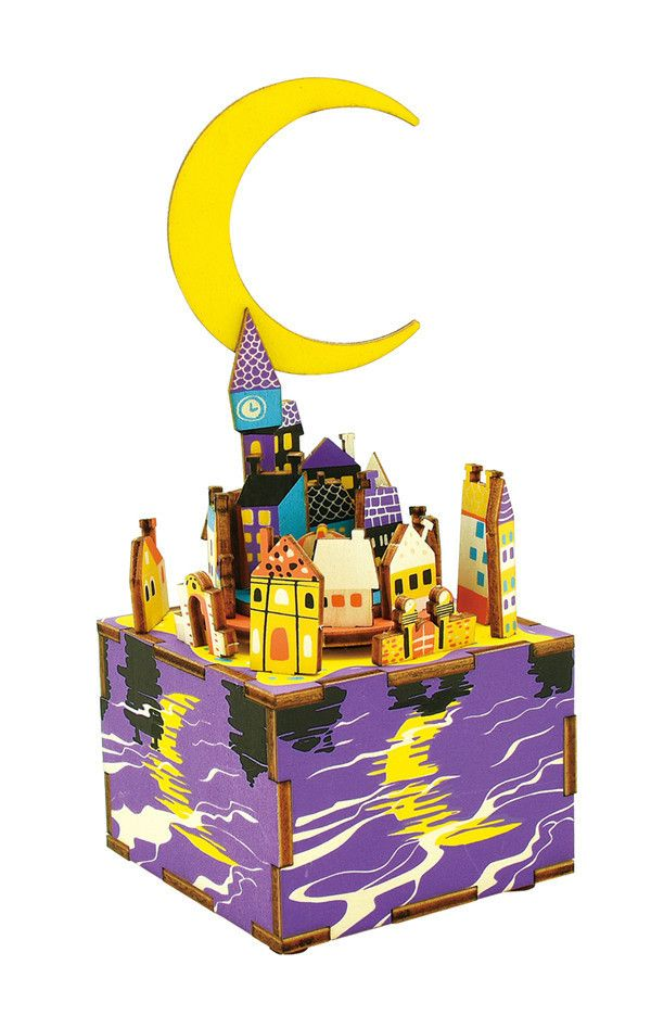 DIY 3D Puzzle Hand-cranked Music Box Wooden Model Kit Home Office Decoration  -  COLORFUL - Midsummer Night Dream