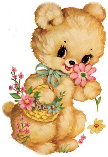 XL VinTaGe RePrO TeDdY BeaR WiTH FLoWeR BasKeT ShaBby WaTerSLiDe DeCALs