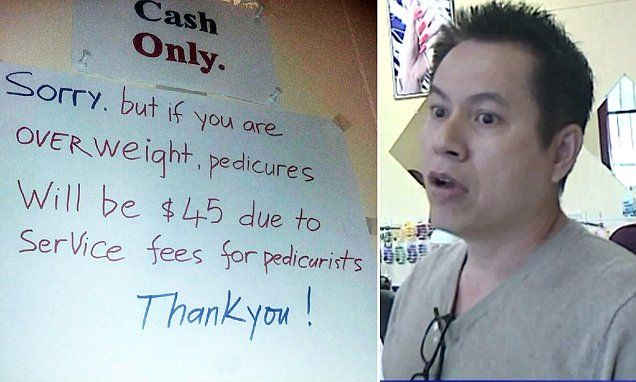 #Tennessee nail salon under fire for 'charging overweight people more for a pedicure' - Daily Mail: Daily Mail Tennessee nail salon under…