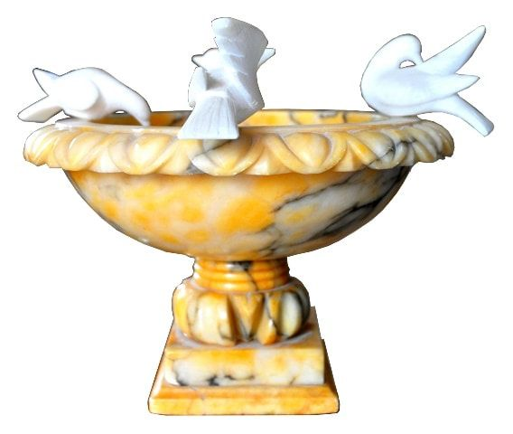 Italian Veined Yellow Marble Bird Bath With 4 White Alabaster