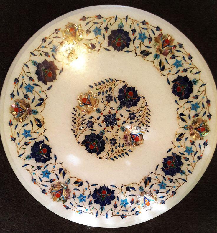Cheese Platter, Salad Platter, Fruit Platter, Veggie Platter, Meat Platter, Sandwich Platter, Pastry Board. Lazy Susan.Table Top - Marble - 18 inch dia - KABCHI'S LTD