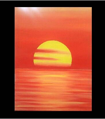 Handmade acrylic painting, abstract painting, sunset, red, yellow,orange,  wall art, by RainbowByIrida on Etsy
