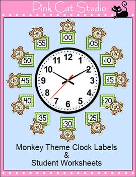 Monkey Theme Clock Labels and Student Worksheets - Back to