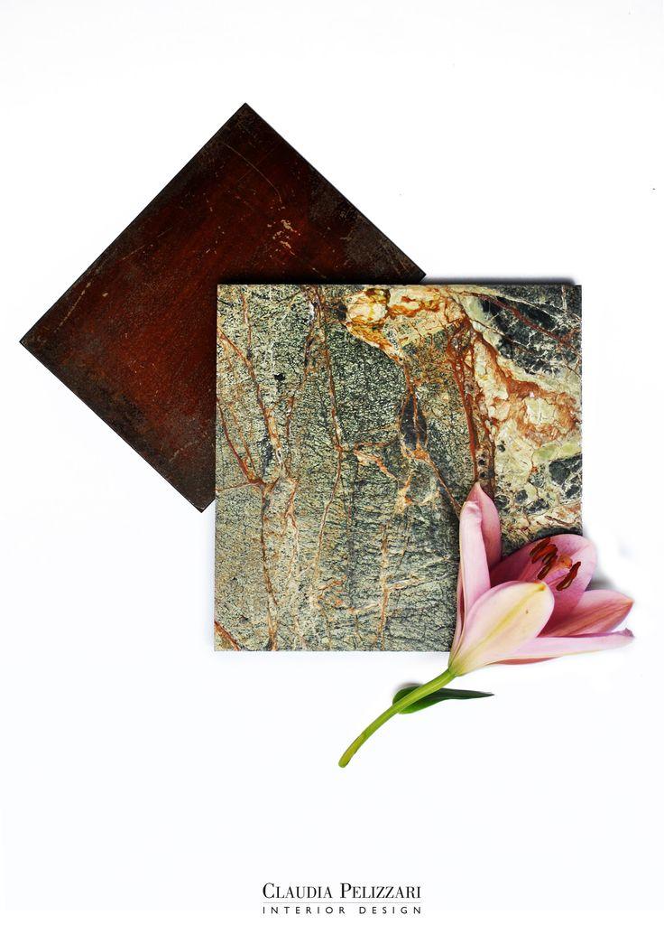 Corten   Green Forest Marble   Flower #mood #inspiration #materials #project #design #interiordesign #interior #brass #colors #newproject #architecture #studiopelizzari