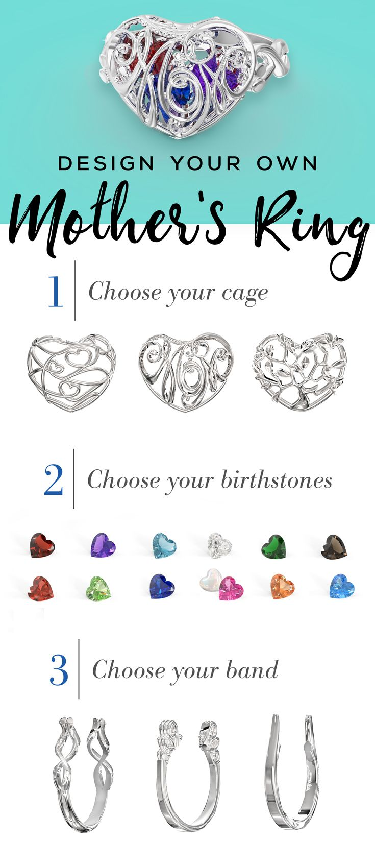 Create the perfect gift for Mom for Mother's Day, her birthday or any special occasion! A stunning 3D heart cage is filled with sparkling birthstones to represent her loved ones, making this a truly unique mother's ring. Personalize this ring with your choice of cage, band, metal and birthstones. You can even add an engraving for a heartfelt finish. Free shipping, free resizing, free returns and a free gift with purchase on all custom-made jewelry at Jewlr.com!