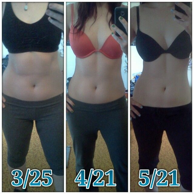 """Still sticking with JM Body Revolution, and I decided to do a 3-shot picture showing my progress over the past 2 months. I'm 5'5"""", and in the first photo I weighed 148.6, in the second I was up to 155.1, and in the most recent one taken this morning, I weighed in at 145.8! I'm at my lowest weight in MONTHS, I've lost an inch off my waist (29"""" down to 28""""), and I'm so proud of how far I've come. Only one more month to go - here's hoping I can power through it! :)"""
