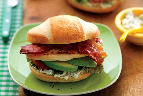 Cobb-Style Chicken Sandwich - When a BLT just isn't enough, this yummy sandwich recipe will save the day with its decadent Blue Cheese Mayonnaise and avocado slices.