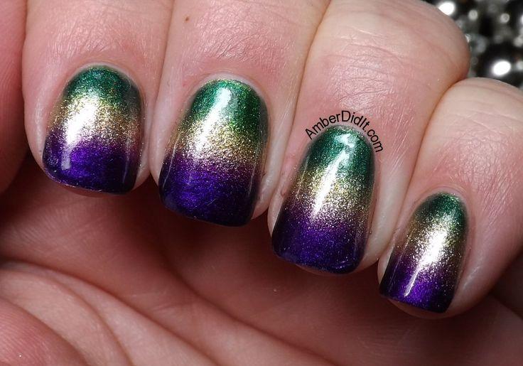 Mardi Gras Gradient Nails via Amber Did It!