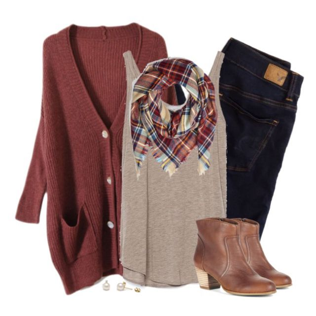 Oversized rust cardigan & plaid blanket scarf