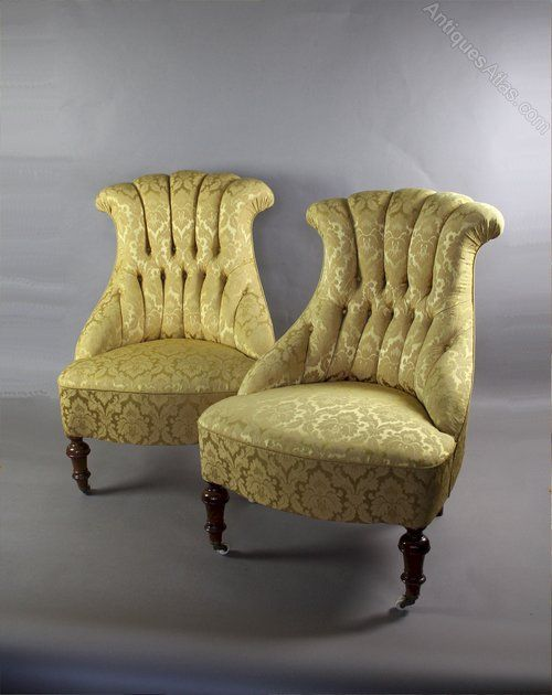 Antique Armchairs, Occasional Chairs U0026 Stools, Victorian Button Backed  Armchairs In Gold Fabric. Pair Of Victorian Button Backed Armchairs In Gold  Patterned ...