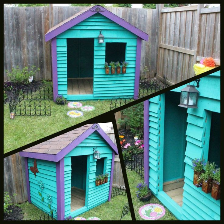 Playhouse made from recycled pallets kids outdoor for Building a wendy house from pallets
