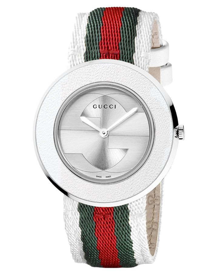 A sporty design adds a playful touch to this precise timepiece from Gucci's U-Play collection. Strap can be replaced and is interchangeable with compatible U-Play watch strap and bezel sets. See below