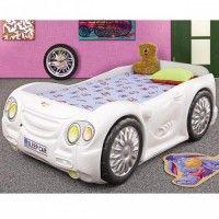 Pat masina Sleep Car alb