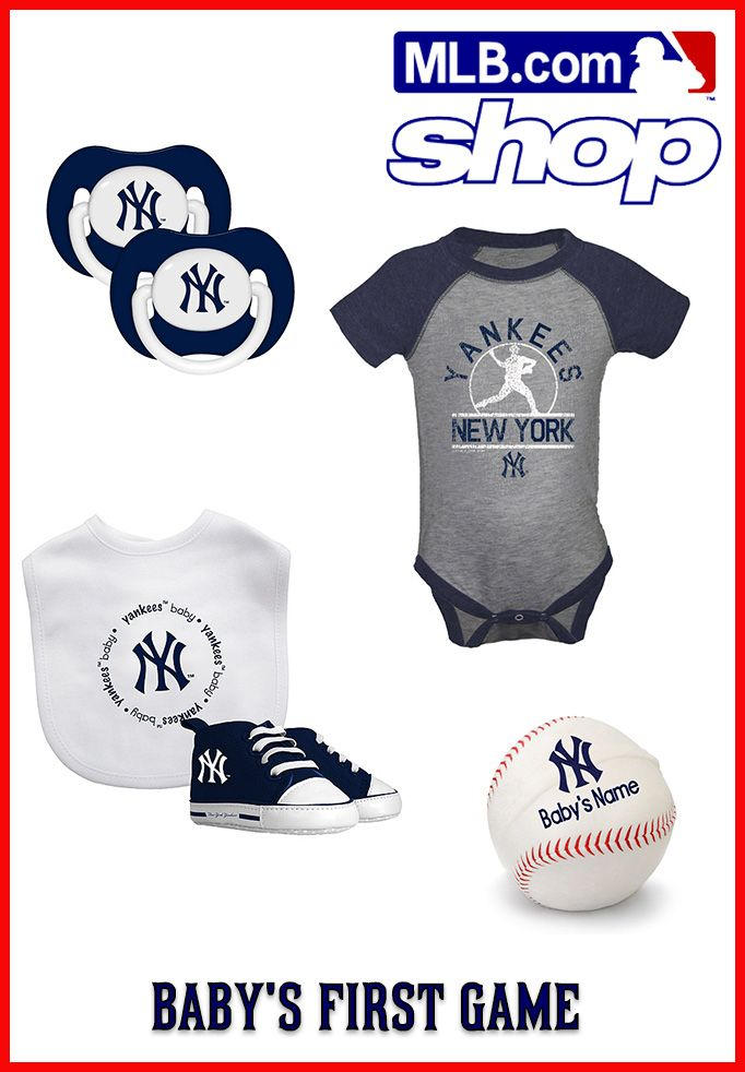 How cute is this baby gear?! These are just a few must-have items for your baby's first baseball game. Check out more at the MLB Shop.