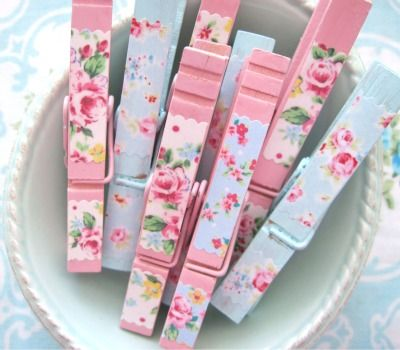 Sweet rosy mix clothespins from Tinkered Treasures!