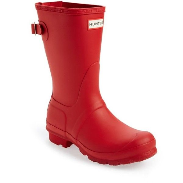"""Hunter Original Short Back Adjustable Rain Boot, 1"""" heel (€130) ❤ liked on Polyvore featuring shoes, boots, mid-calf boots, military red, low heel boots, red boots, red rubber boots, hunter boots and wellington boots"""