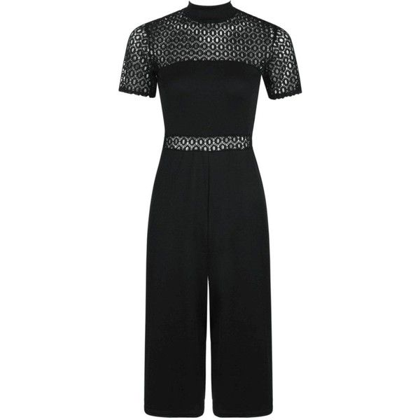 Boohoo Hanna Crochet High Neck Culotte Jumpsuit ($50) ❤ liked on Polyvore featuring jumpsuits, special occasion jumpsuits, evening jumpsuits, crochet jumpsuit, patterned jumpsuit and jump suit