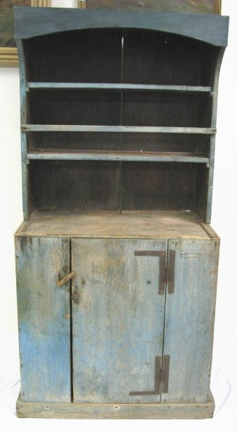 High Quality 2 PC COUNTRY CUPBOARD IN BLUE PAINT