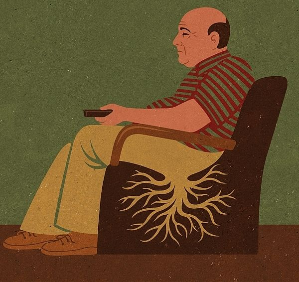 This man sitting in the chair is watching tv. He has obviously been watching tv for a long time because he is growing into the chair like a plant. We give tv and electronics so much of our attention that we become glued to them. This is Horatian satire.