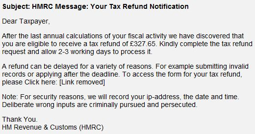 HM Revenue & Customs Income Tax Repayment Phishing Scam. #scams #beware