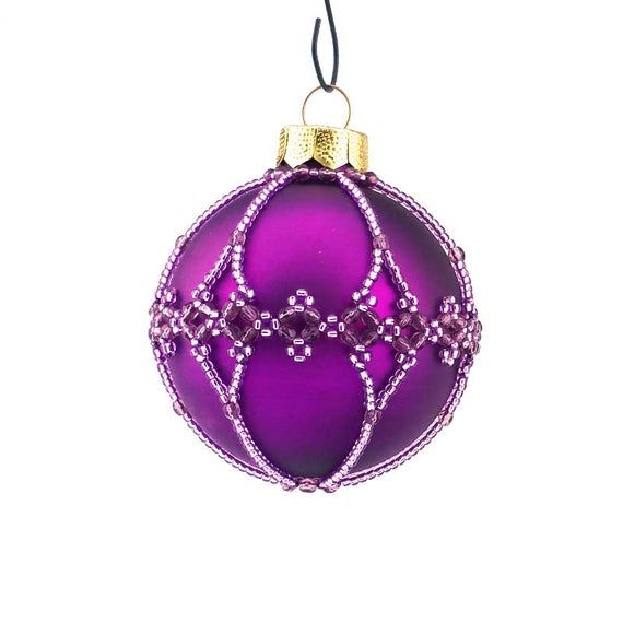 Closed For Christmas 2020 Purple Ornements Pics Christmas Ornament, beaded bauble, purple and violet colours