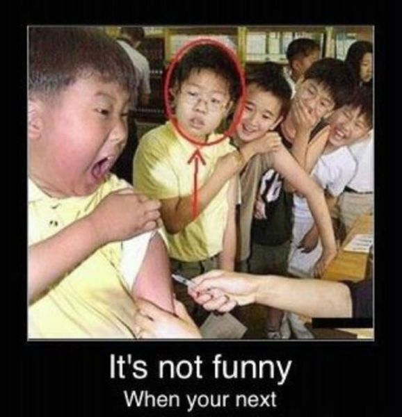 :) i actually like the kid's face that is being stabbed with the needle. It looks like mine when i get a shot.