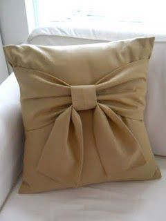 I have never used decor pillows much, but this was just too cute to pass up. And you can even make the bow and the pillow contrasting colors so the bow will stand out more.