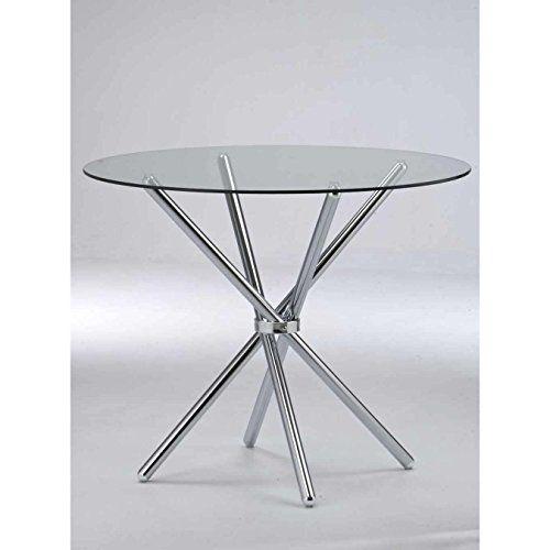 Casa 90 cm Esstisch, Oval, Glas, Metall, Rund, Mit Modernen Tisch Esstisch, Glas