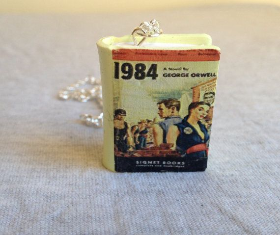 Nineteen Eighty-Four polymer clay book charm by JennyandtheBlock