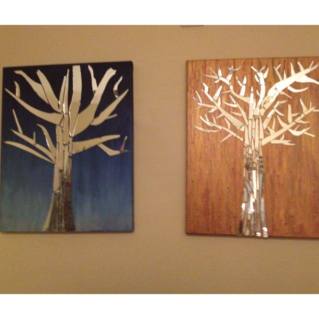 Mirror Trees on painted canvas