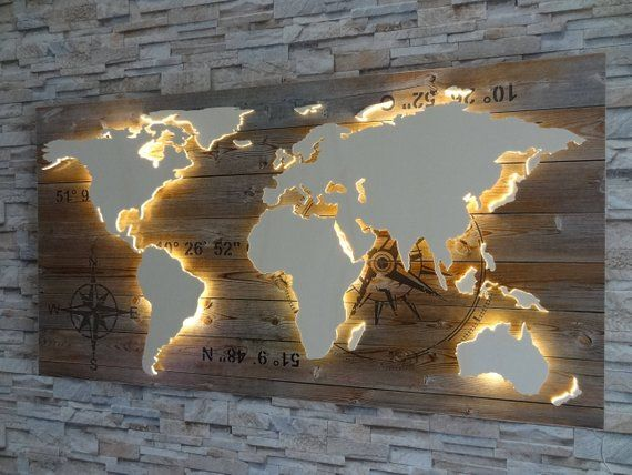 World map of wood LED lighting 3D effect